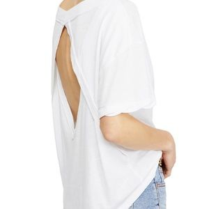FREE PEOPLE Open Back Loose White Tee SMALL